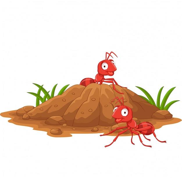 Anthill in the forest land Premium Vector