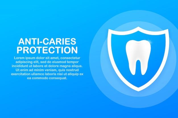 Anti-caries protection. teeth with shield icon design. dental care concept. healthy teeth. human teeth. Premium Vector