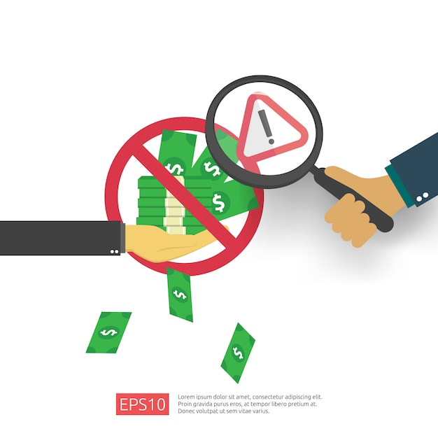 Anti corruption, stop and corrupt decline concept. business bribe with money in an envelope and prohibition warning sign.  illustration in flat style for banner, background, and presentation Premium Vector