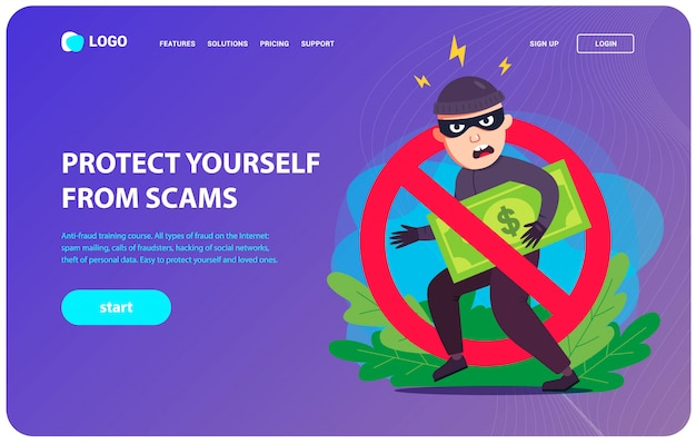 Anti-fraud landing page. a thief steals your money. flat character vector illustration. Premium Vector
