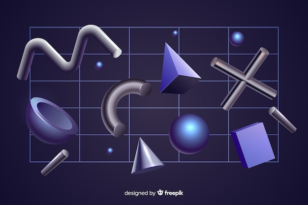 Anti-gravity geometric shapes 3d effect on black background Free Vector
