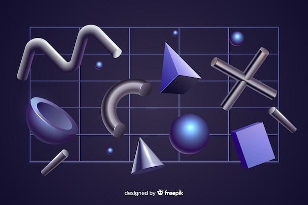 Антигравитационные геометрические фигуры 3d-эффект на черном фоне Бесплатные векторы