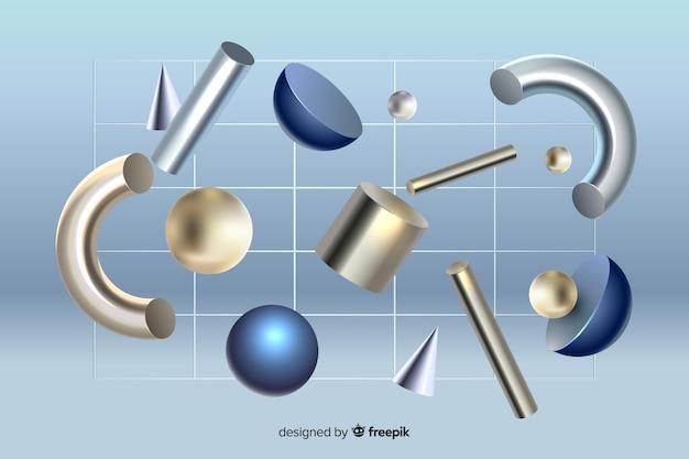3d-эффект антигравитационных геометрических фигур Бесплатные векторы