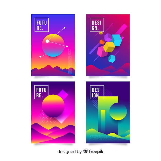 Anti gravity shapes cover collection Free Vector
