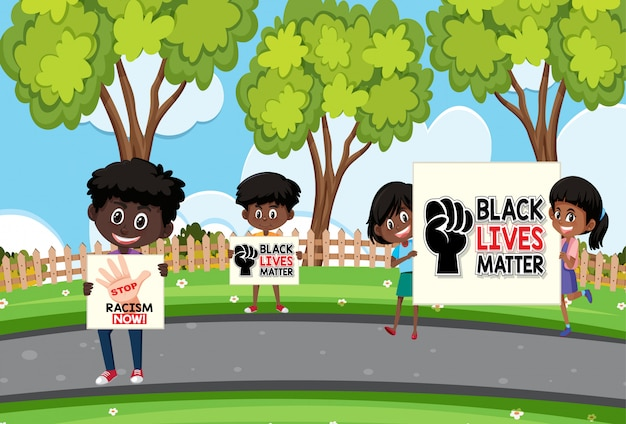 Anti-racism protesters  at the park Premium Vector