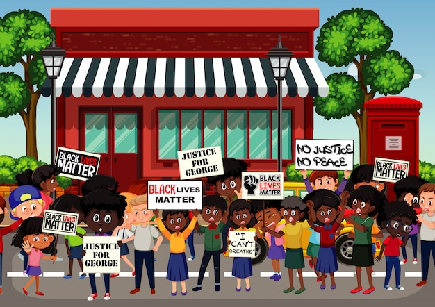 Anti-racism protesters at the street Premium Vector