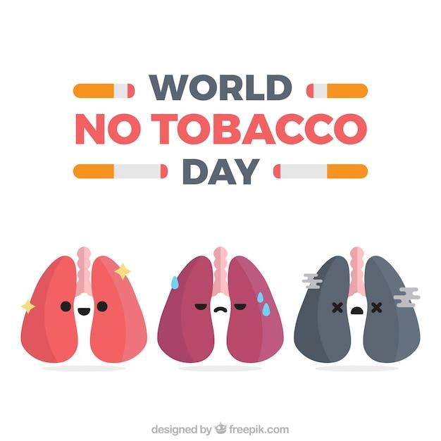 いくつかの肺とアンチ喫煙日間の背景 Premiumベクター