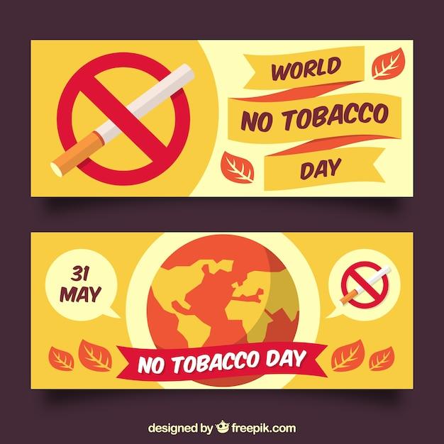 Баннеры всемирного дня против табака Premium векторы