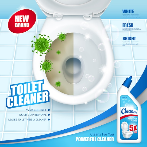 Antibacterial toilet cleaner advertisement Free Vector