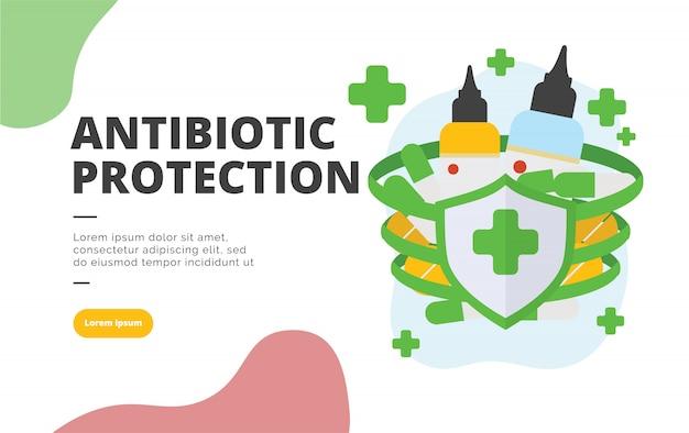 Antibiotic protection flat design banner illustration Premium Vector