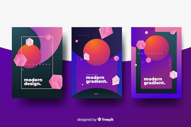 Antigravity cover collection Free Vector
