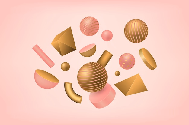 Antigravity geometric shapes in 3d effect Free Vector