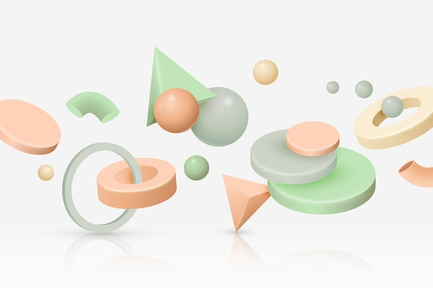 Antigravity geometric shapes background Free Vector
