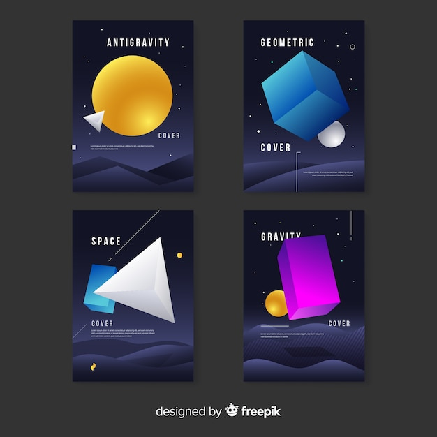 Antigravity geometric shapes cover collection Free Vector