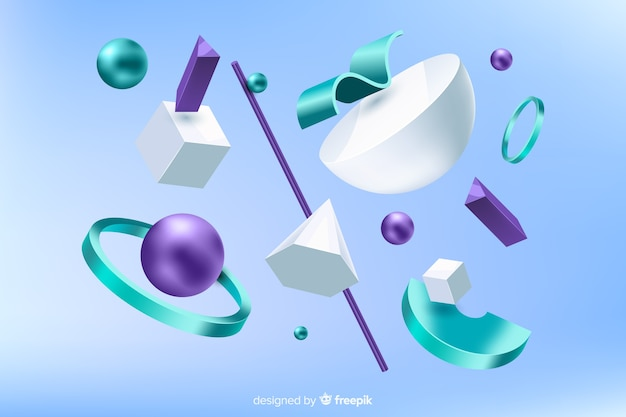 Antigravity geometric shapes with 3d effect Free Vector