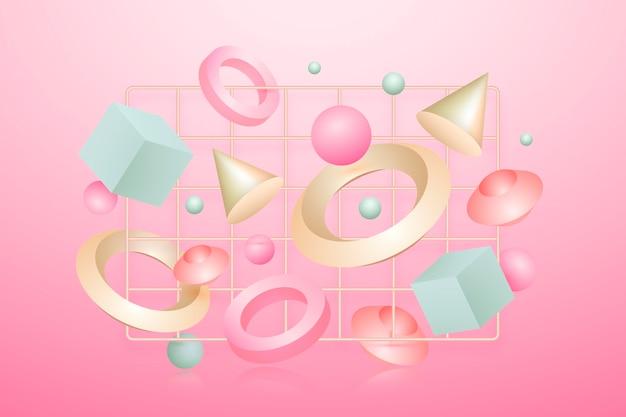 Forme geometriche antigravità in effetto 3d Vettore gratuito