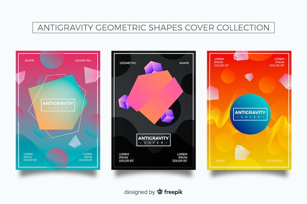 Antigravity gradient shapes cover collection Free Vector