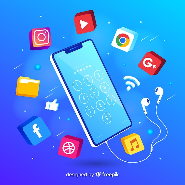 Antigravity mobile phone isometric style Free Vector