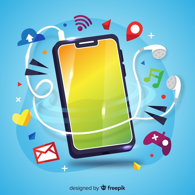 Antigravity mobile phone with social media elements Free Vector
