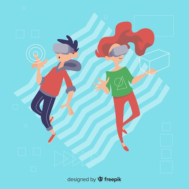 Antigravity people background Free Vector