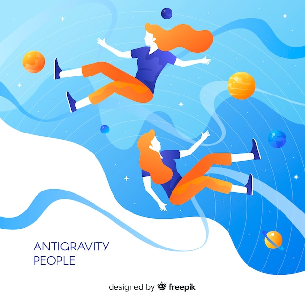 Antigravity people background Free Vector