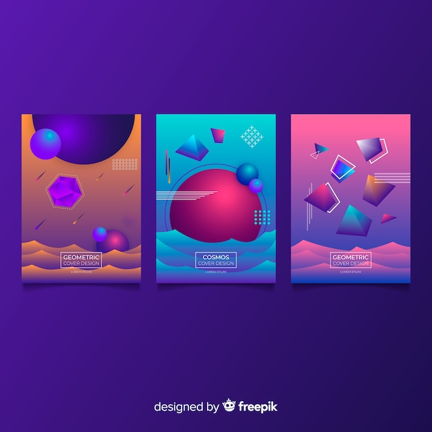 Antigravity shapes brochure collection Free Vector