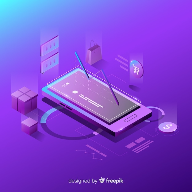 Antigravity smartphone with elements Free Vector