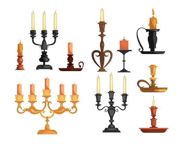 Antique candleholders set Free Vector