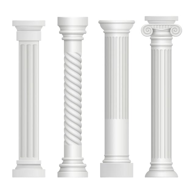 Античная колонна. исторические греческие колонны древнее здание архитектура искусство скульптура реалистичные картины Premium векторы