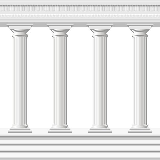Античные колонны изолированные Premium векторы