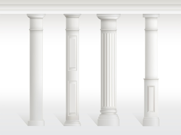 Antique columns set, balustrade isolated on white background. Free Vector