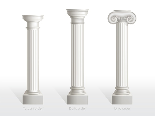 Antique columns set of tuscan, doric and ionic order isolated. ancient classic ornate pillars of roman or greece architecture for facade decoration realistic 3d vector illustration Free Vector