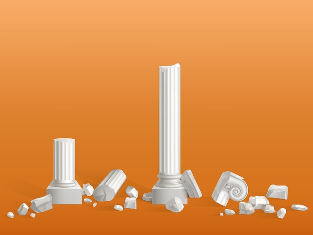 Antique columns of white marble stone broken on pieces, Free Vector