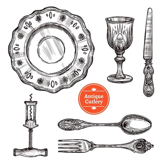 Antique cutlery set Free Vector