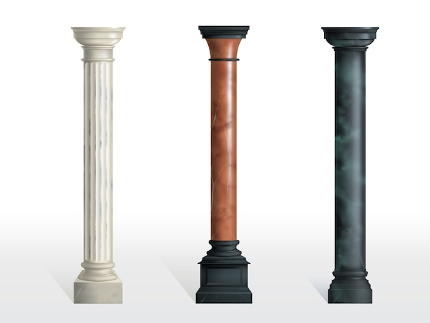 Antique cylindrical columns of white, red and black marble stone with cubical base realistic vector isolated. ancient architecture, historical or modern building exterior element Free Vector