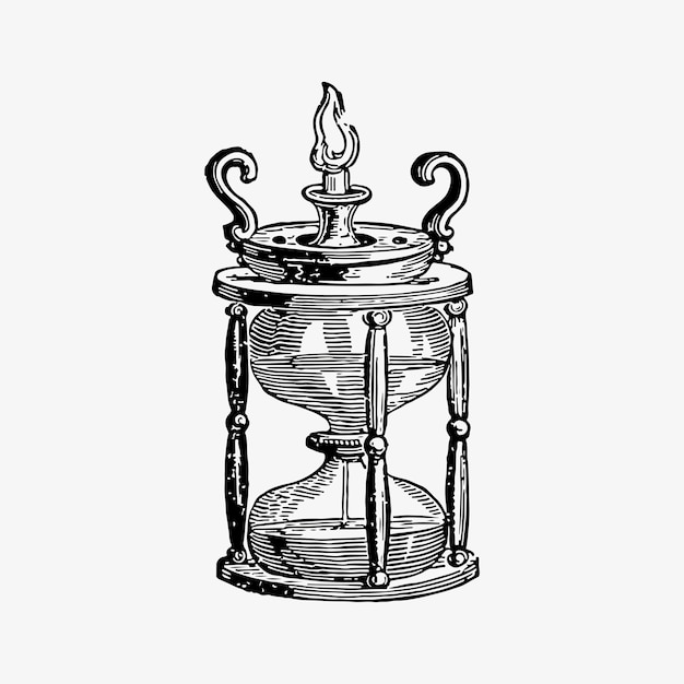 Antique egg timer drawing Free Vector