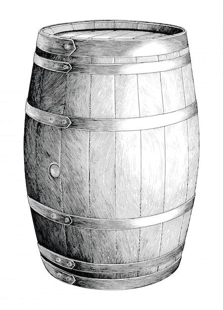 Antique engraving illustration of oak barrel hand drawing black and white clip art isolated, alcoholic fermentation oak barrel Premium Vector