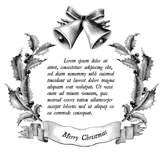 크리스마스 흑백 개념의 골동품 조각 그림 흰색 배경에 고립 프리미엄 벡터