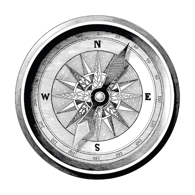 Antique Engraving Illustration Of Vintage Compass Black And White Clip Art Isolated Compass Of Travel And Sea Way Premium Vector