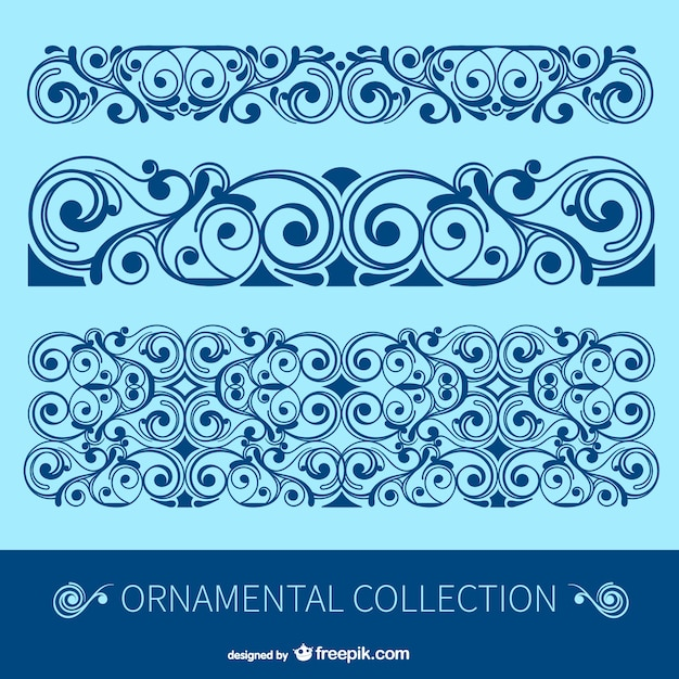 Antique floral borders Free Vector
