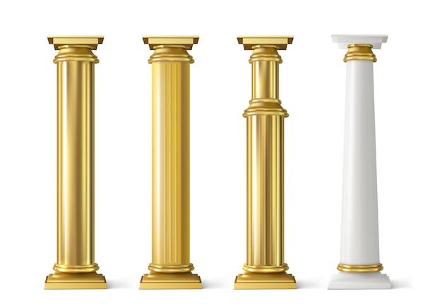 Antique gold pillars set. ancient golden columns Free Vector