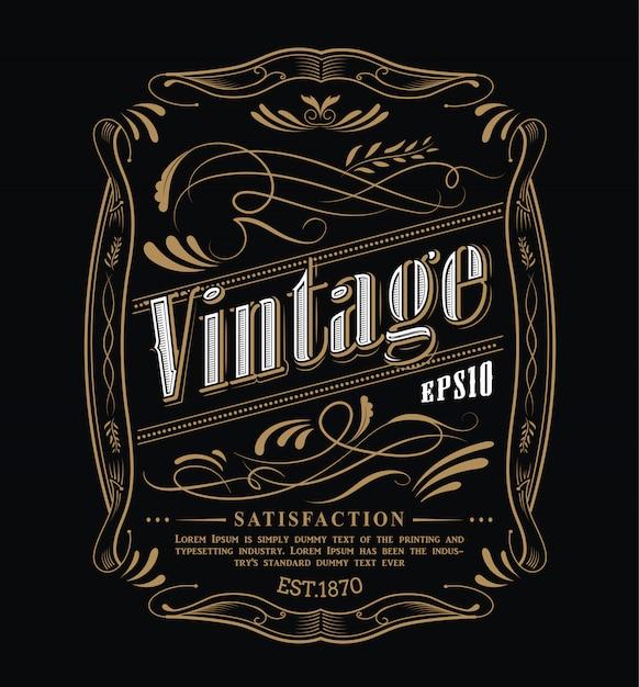 Antique label western hand drawn frame blackboard typography border vintage  illustration Premium Vector