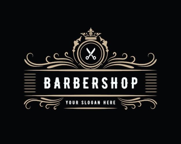 Старинный роскошный винтажный западный стиль для парикмахерских, дизайн логотипа, подходящий для салона спа-салона красоты парикмахерская, модный уход за волосами и кожей парикмахерская бизнес Premium векторы
