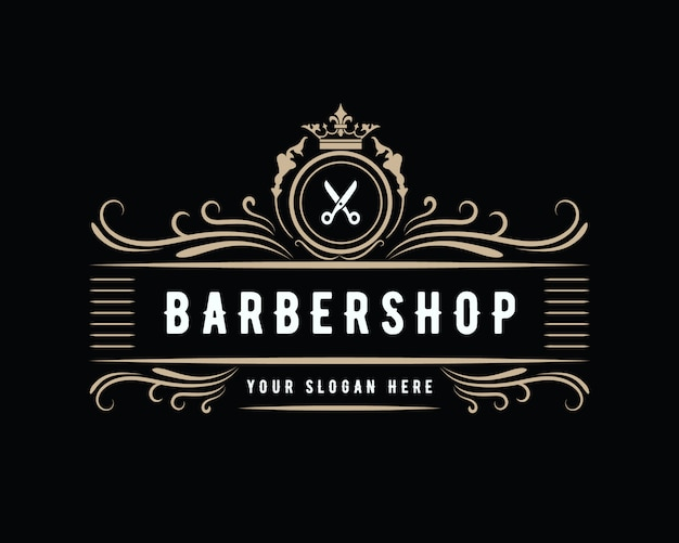Antique luxury vintage western style barbershop logo design suitable for salon spa beauty hairdresser fashion hair care and skin care barber shop business Premium Vector