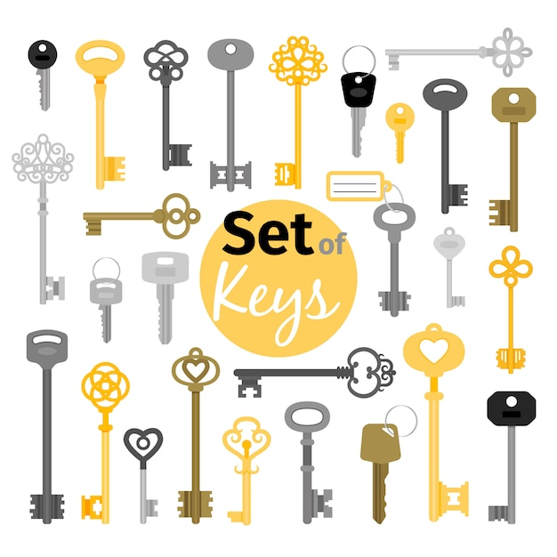 Antique and modern keys in flat style Premium Vector