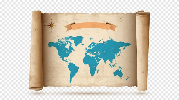 Antique paper scroll or parchment with old map Premium Vector