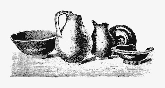 Antique potteries vintage drawing Free Vector