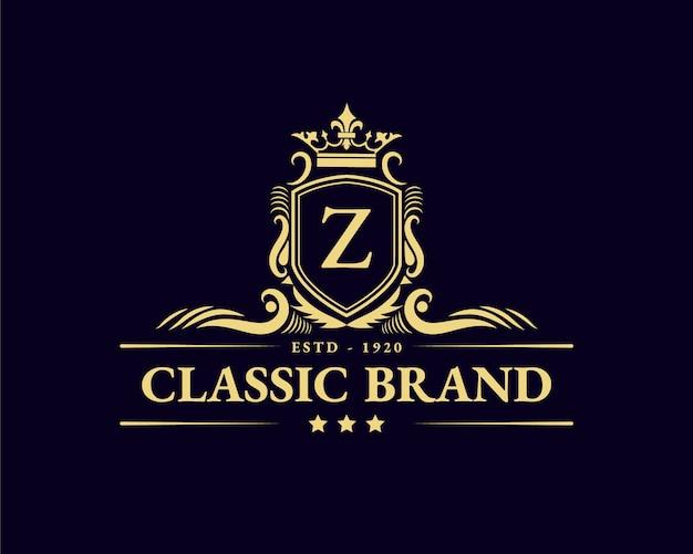 Antique retro luxury victorian calligraphic emblem logo with ornamental frame suitable for barber wine craft beer shop spa  beauty salon boutique antique restaurant hotel resort classic royal brand Premium Vector