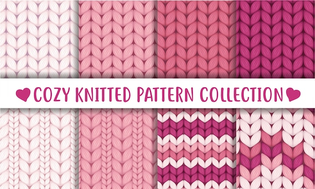 Antique rose collection of knitted wool seamless patterns Premium Vector