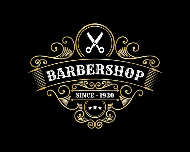 Antique royal luxury shiny victorian calligraphic logo with ornamental frame for barbershop hair salon beauty spa Premium Vector